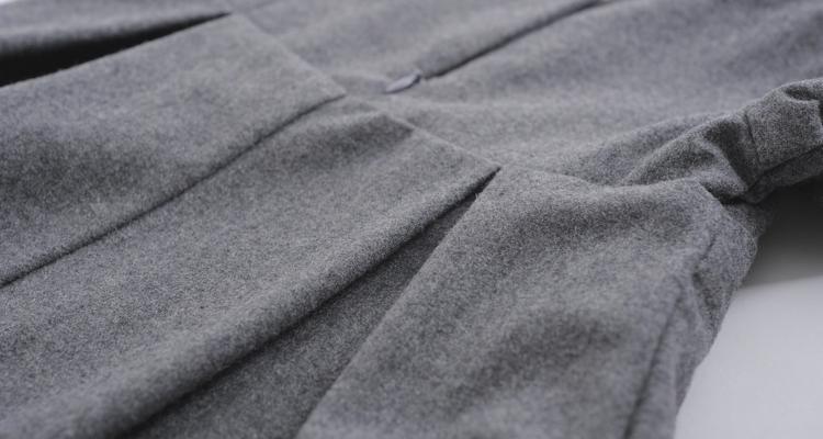 Скидки на Девушки серый шерсть шерстяное платье 9a11c рукавами девушки темперамент леди Мао Nequn