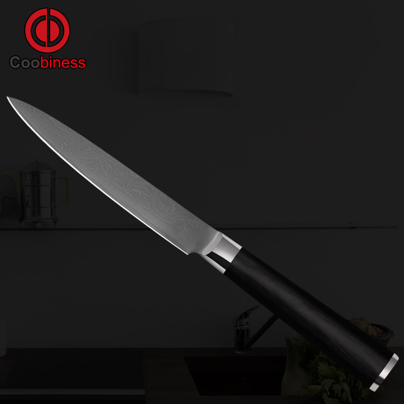 COOB sharp 5 inch utility knife damascus 9Cr18Mov stainless steel kitchen knives 71 layers steel vegetable knife cooking tools.(China (Mainland))