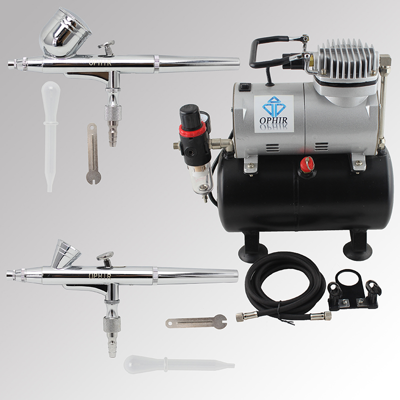 OPHIR Pro 0.2mm 0.3mm 2-Dual Action Airbrush Air Tank Compressor Kit for Makeup Cosmetic Body Paint 110V,220V_AC090+AC004A+AC073
