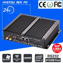 Fanless Barebone Mini PC Core i7 4500U i5 4200U Windows 10 Rugged ITX Case Embedded Industrial Computer 2 LAN HDMI 6 COM Nettop(China (Mainland))