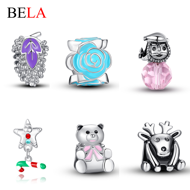 5PCS Top Quality Silver Plated DIY Jewelry Making Elk,Teddy Bear,Snowman Charms Beads Fit Original Bracelet Necklace Pendant(China (Mainland))
