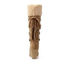 EGONERY cô gái Ngọt Ngào ấm ngoài trời mùa đông xuân sang trọng đầu gối Cao Ủng Đen màu be vàng lớn size 34-43 người phụ nữ Đế Độn(China)