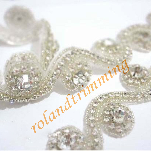 free shiipping 2015 new bling rhinestone beaded bridal trims lace for dresses RAY46-trim(China (Mainland))