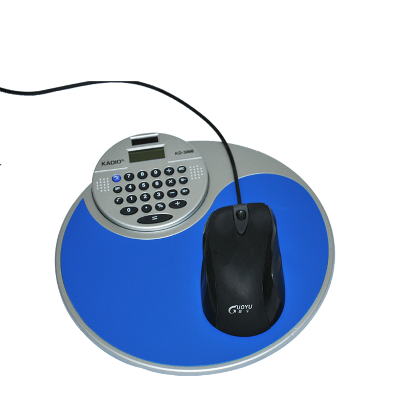 stationery set plastic mouse pad with calculator office school multifunction round desk pad(China (Mainland))