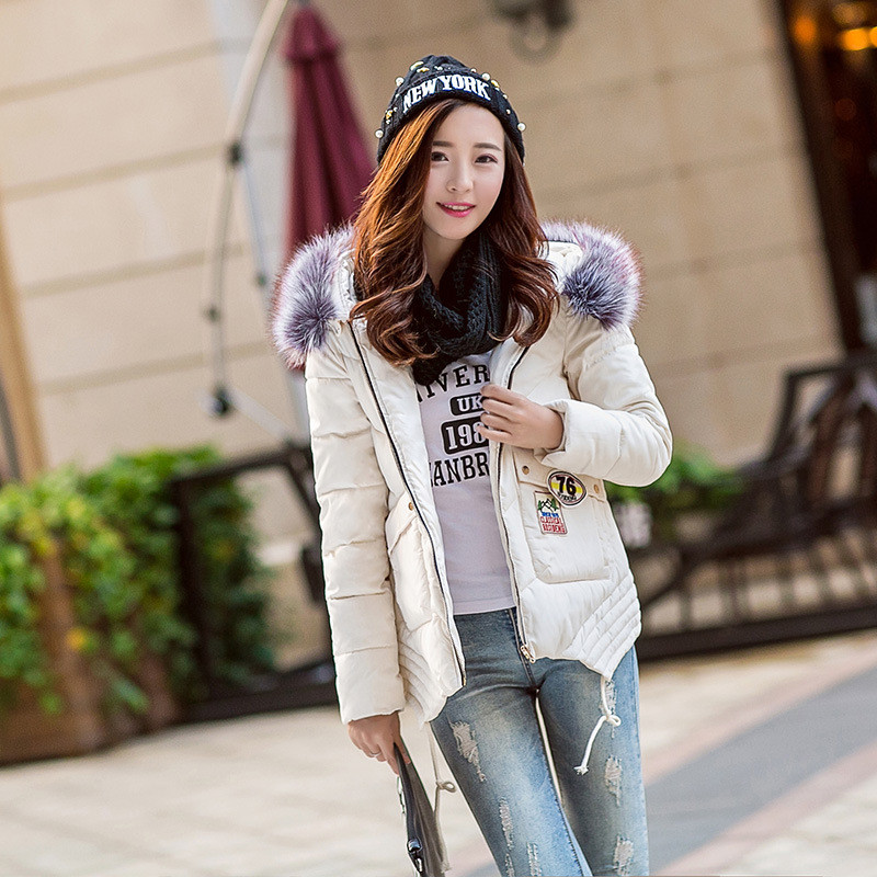 Фотография Winter coat female Slim A-line fur collar hooded short thicker down jacket women winter jacket parka winter women clothing TT183