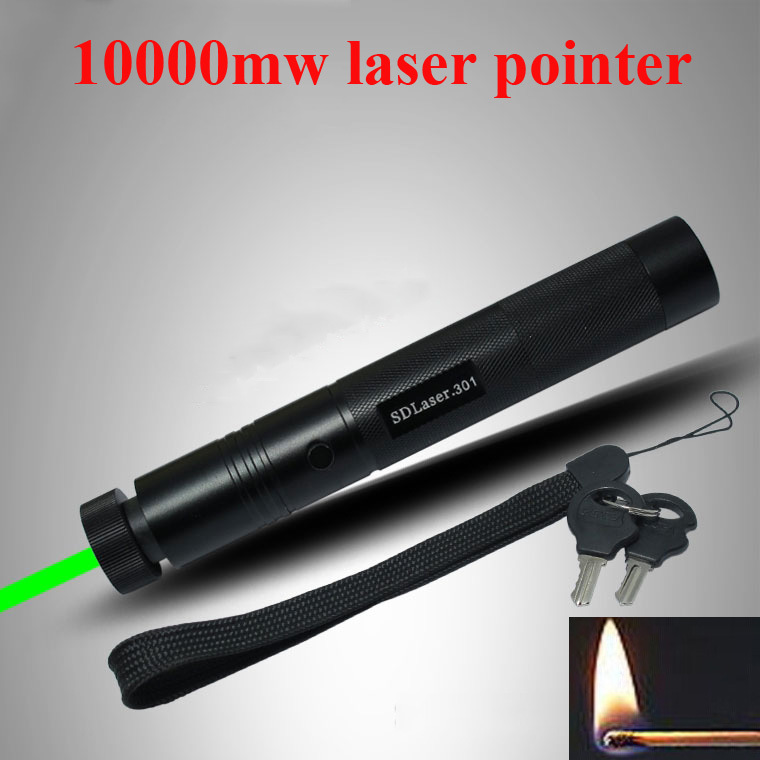 High power 10000mw 301 Laser 532nm Laser pointer flashlight mantianxing green pen laser can light match +Saftey key laserpointer(China (Mainland))