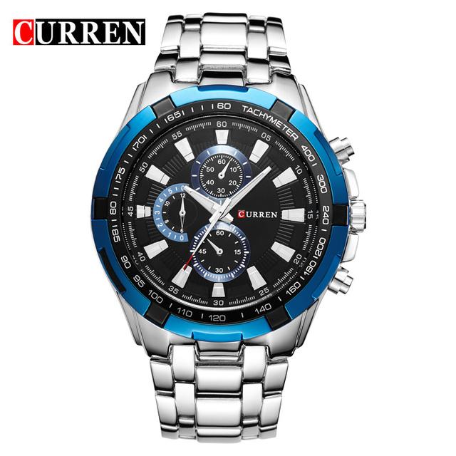 Нью-curren полный стали кварцевые часы мужчин бизнес кварцевые часы свободного покроя 3ATM водонепроницаемый прямая поставка синий дейл Relogio Masculino мужской