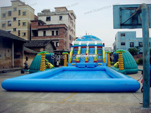 2014 new giant inflatable water park inflatable water slides with pool free shipping(China (Mainland))