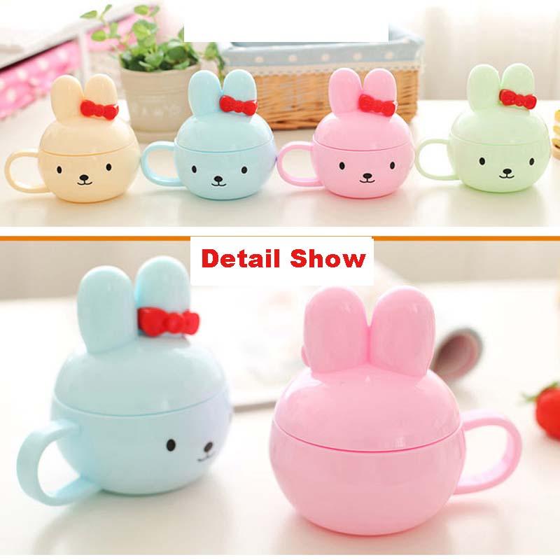 Kawaii Hello Kitty Rabbit Water Cup Cartoon Mug Kids Novelty Coffee Cups Milk Tea Mugs with Lid(China (Mainland))