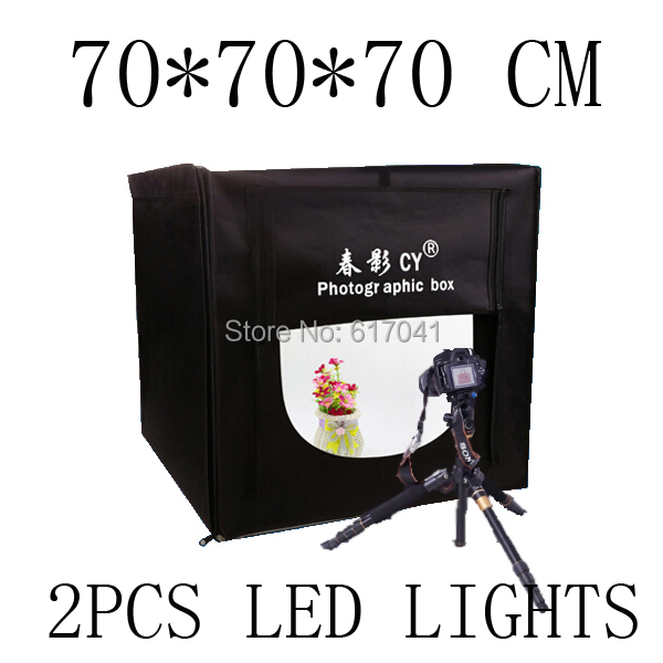 foldable 70 X 70 X 70cm Professional Portable Mini Photo Studio Box Photography Backdrop built-in LED 5500K color Light -CY70(China (Mainland))