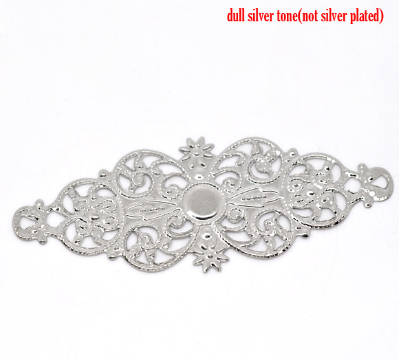 Free Shipping 50 Silver Tone Flower Wraps Connector 6.1x2.4cm B00040