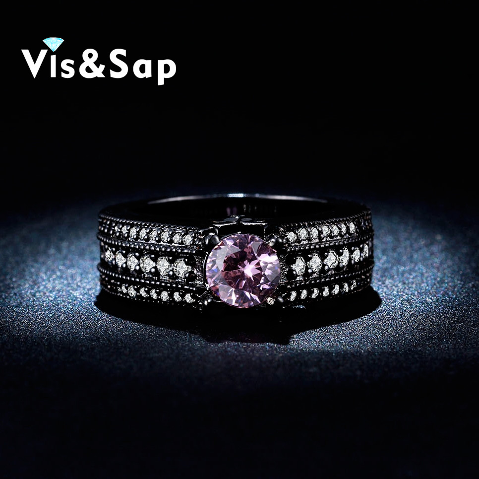 Wedding bands black gold plated rings purple stone 2ct CZ diamond Rings For women engagement Bijoux fashion jewelry VSR245(China (Mainland))
