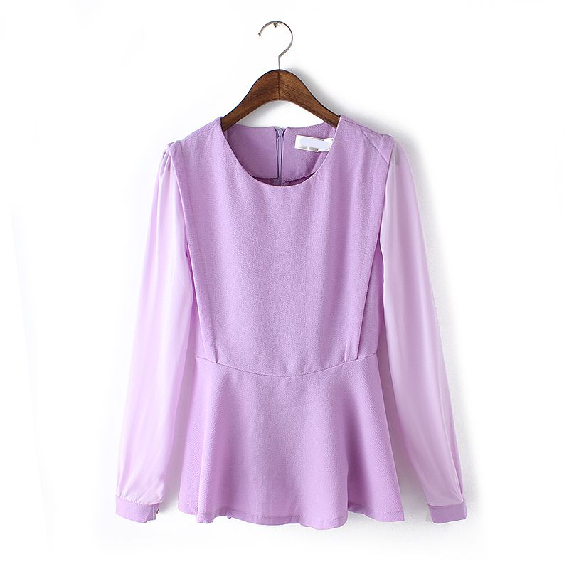 Rush in the spring of 2015 Korean women's new color chiffon long sleeved shirt shirt collar stitching Z13X(China (Mainland))