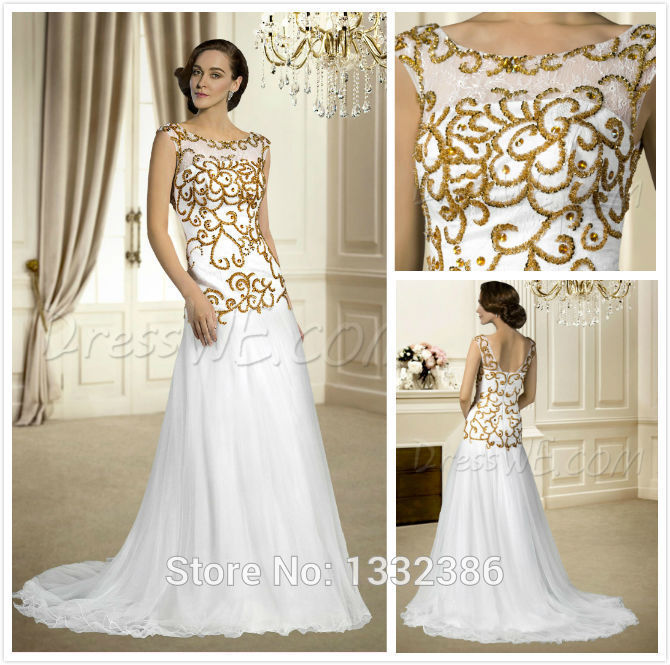 Hotperfect bateau neck bridal gowns a line long white for White and gold wedding dresses