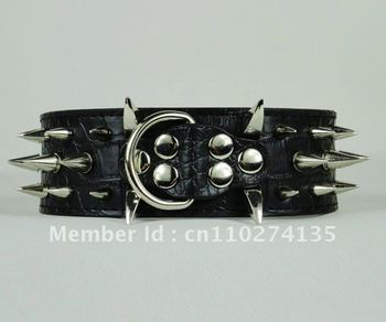 Black 2 Inch Width M Size Leather 3 Rows Spikes Dog Collars for Large Pitbull Boxer Mastiff Dogs