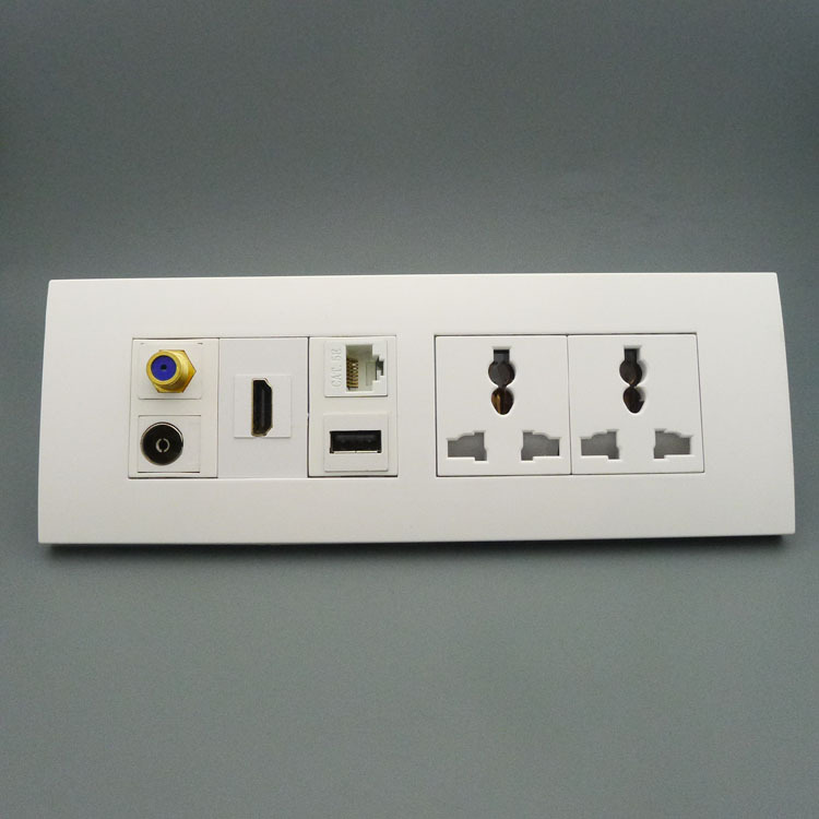 118 wall plate with 2ports power socket, USB, hdmi, RJ45,TV,F head support DIY wall plate(China (Mainland))