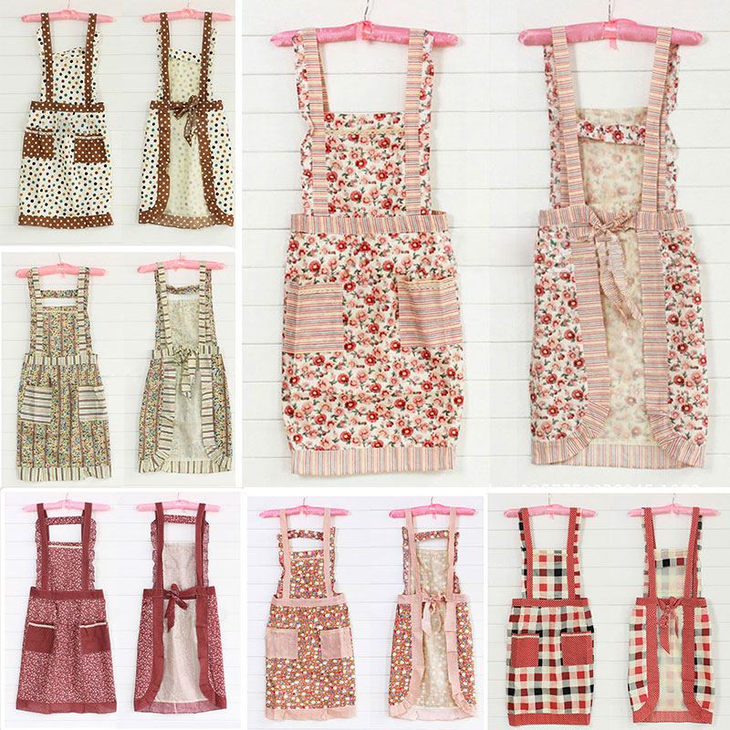 New Vogue Korean Princess Aprons Double Widening Strap Rose Waterproof Pinafore #78217(China (Mainland))