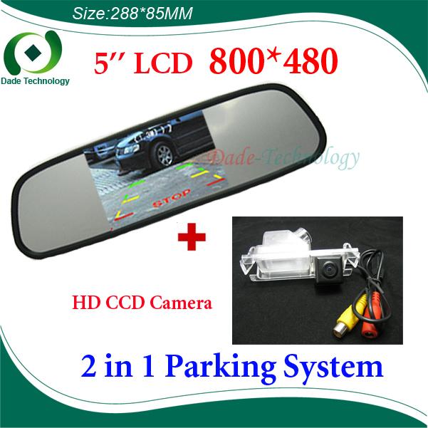 2 in 1 car parking System for KIA K2 (Hatchback) CCD HD Car Rear View Camera + 5 inch HD 800*480 Car rear Mirror(China (Mainland))