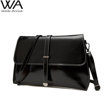 Genuine Leather Women Clutch Real Leather Purse Waxed Cowhide One Shoulder Bag Fashion Satchel Casual Bolsas