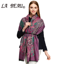 Designers Brand Cashmere Purple Scarves Women's Long Casual Cardigan Jacquard Scarf Vintage Scarf Shawl Scarf With Flowers(China (Mainland))