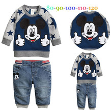 2015 spring and autumn mickey and minnie t shirt jeans baby boys clothes