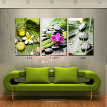 Modern Wall Art Home Decoration Printed Oil Painting Pictures No Frame 3 Panel Scented Candle Orchid Stones Beauty Salon Decor(China (Mainland))