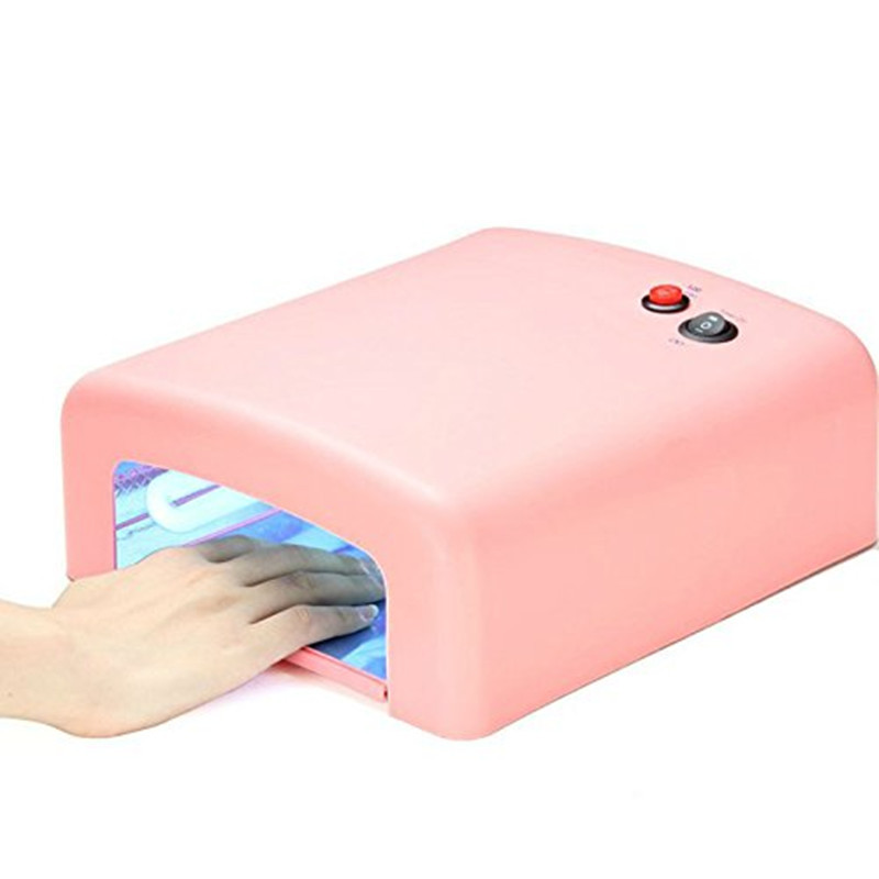 1Pcs White/Pink Color UV Lamp 36W Nail Art Dryer Gel Curing Light ,Manicure Drying Fan EU Plug(China (Mainland))