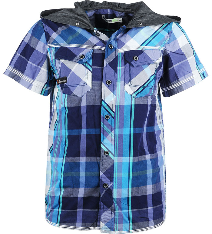 Boys Short Sleeve Summer Dress Shirts Kids 100% Cotton Denim Hooded Casual Plaid Shirt For Boy Children Clothing Wholesale 8156(China (Mainland))