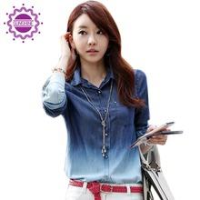Spring Autumn New Shirts Female Long Sleeve Casual Tops Women Loose Tees Street Denim Fashion Cowboy Shirt(China (Mainland))