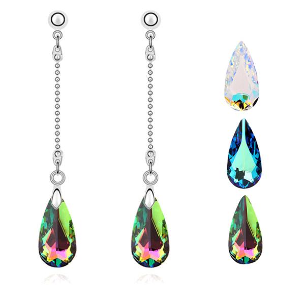 """Модные женские серьги Brincos """"Большая капля"""". Длинные, свисающие серьги цвета серебра с кристаллом в виде большой капли воды."""