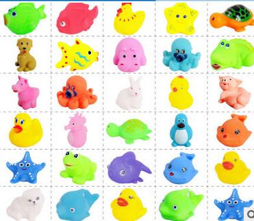 Popular toy vinyl baby animals playing in the water bath toys tweak called sound toys send children gifts free shipping(China (Mainland))