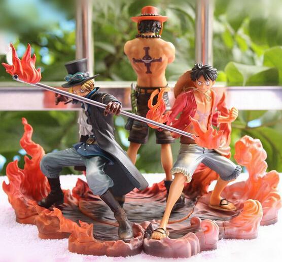 Anime One Piece 16cm 3pcs/set Luffy & Ace & Sabo 3 brother PVC Action Figure Toys Dolls(China (Mainland))