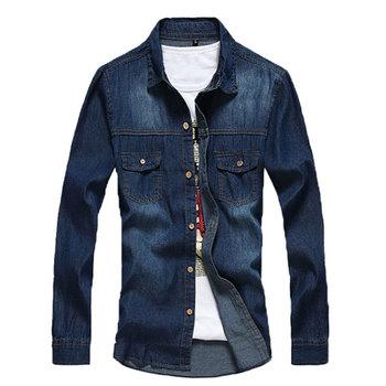 Лето 2015 новый джинсовые рубашки с длинным рукавом мужская джинсовая рубашка для мужчин новинка фирменные джинсы Большой размер MS233
