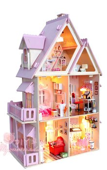 DIY LED light wood miniature colourful dollhouse Kit 6rooms Miniatures&furniture