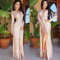 New Style Autumn dress women 2016 Sexy Rose Gold bright piece long sleeve deep V kick