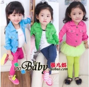 Girls jacket Retail 1 PCS 2013 denim jacket candy color Kids Child Baby outerwear girls coat children clothing<br><br>Aliexpress