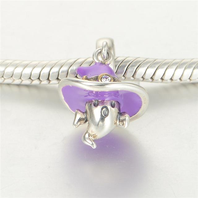Стерлингового серебра 925 пробы украшения эльф с фиолетовый шляпа бусины DIY хэллоуин стерлингового серебра - серебристо-ювелирные подходит европейским очаровывает браслеты