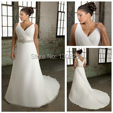 2015sleeveless v neckline ivory organza empire waist plus for Ivory empire waist wedding dress