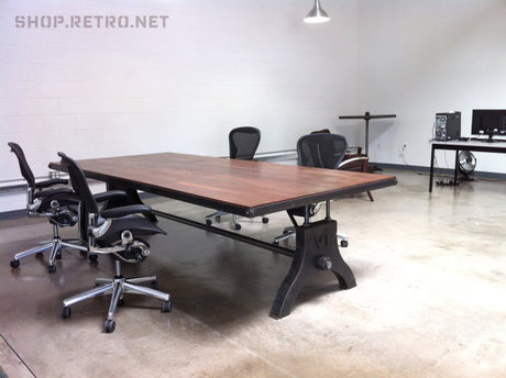 American country wood dining table meeting table desk Iron table desk desk computer desk to do the old(China (Mainland))