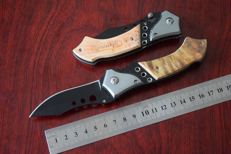 OEM Browning There eye Tactical Folding knife Hunting Knives Pocket knife Survival Outdoor Aluminum Wood Handle