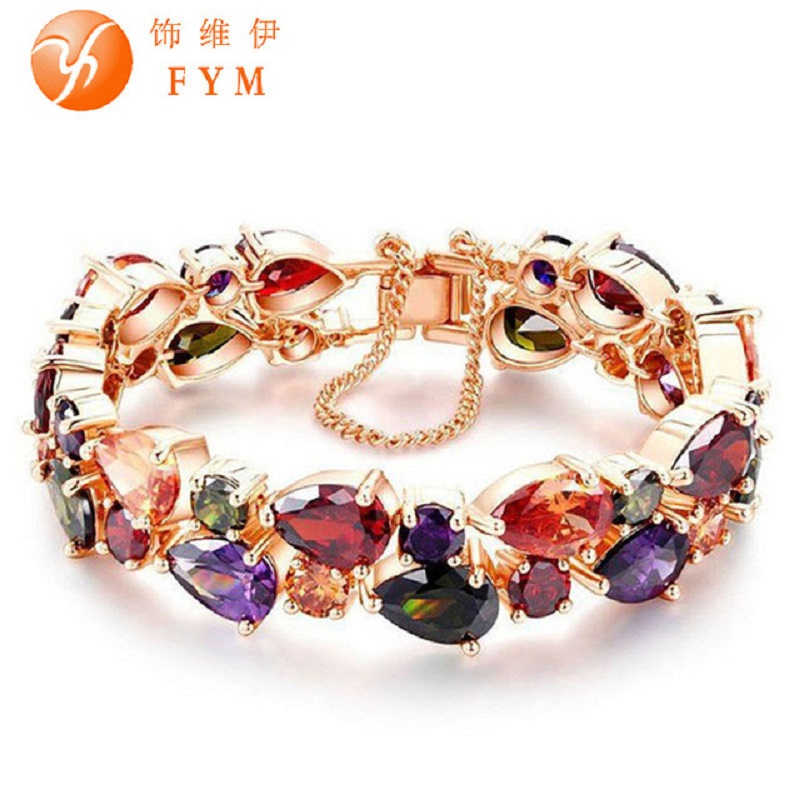 Trendy Luxury Charm CZ Diamond Bracelet Rose Gold Plated Colorful Love Friendship Bracelet for Women Bride Girlfriend Jewelry(China (Mainland))