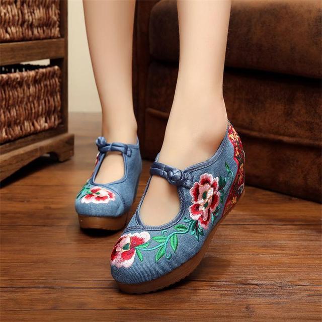 Мода Камелии Женщин Обувь Национальная Старый Пекин Мэри Джейн Внутри Увеличилась ...