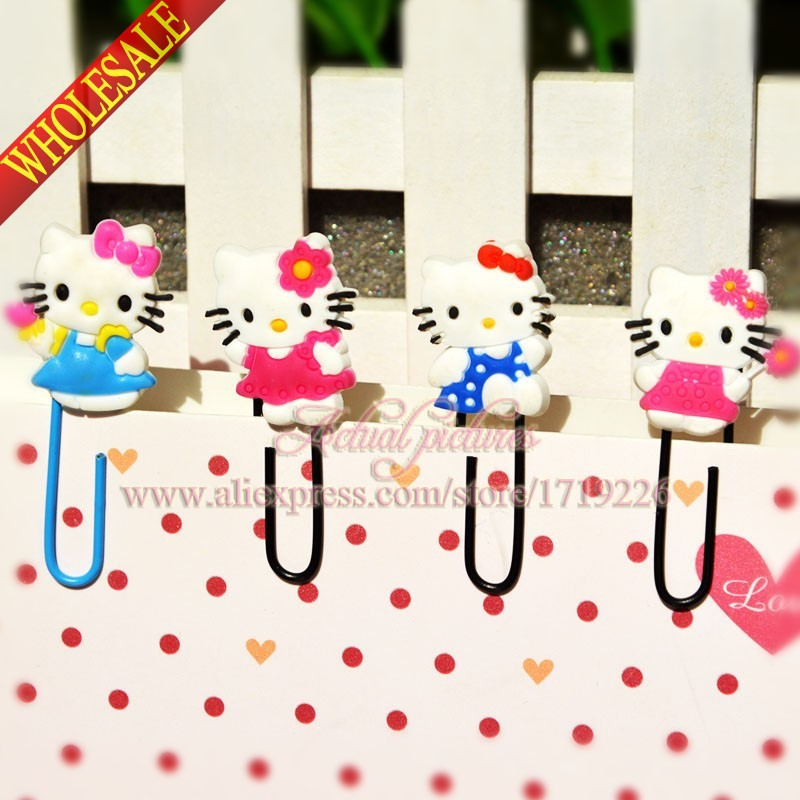 Hot Sale 4PCS Hello Kitty Hot Games Bookmarks,DIY Multifunction Bookmarks,DIY Cartoon Paper Clips,Office School Supplies Gifts(China (Mainland))