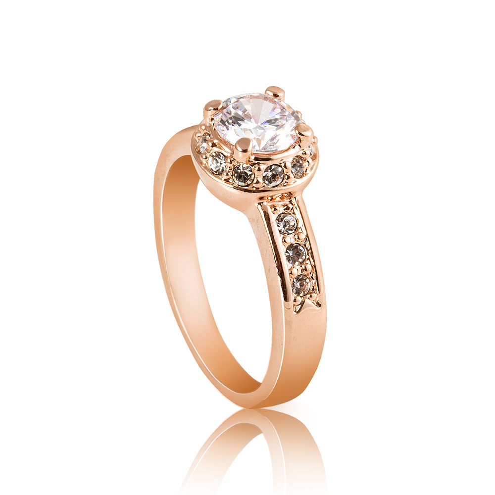 Gold Plated Wedding Rings: Christmas Gift 18K Rose Gold Plated Austrian Crystal