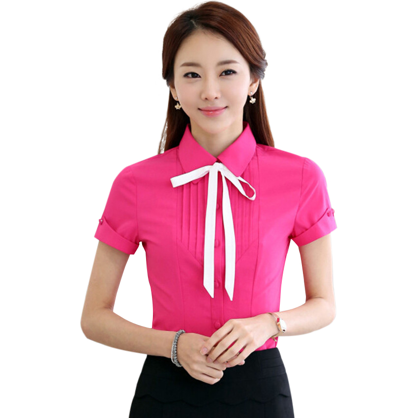Summer New Formal women's clothing bow short sleeve shirt 2015 OL slim chiffon blouse office work wear plus size tops Rose white - LOVIU (Drop shipping store)