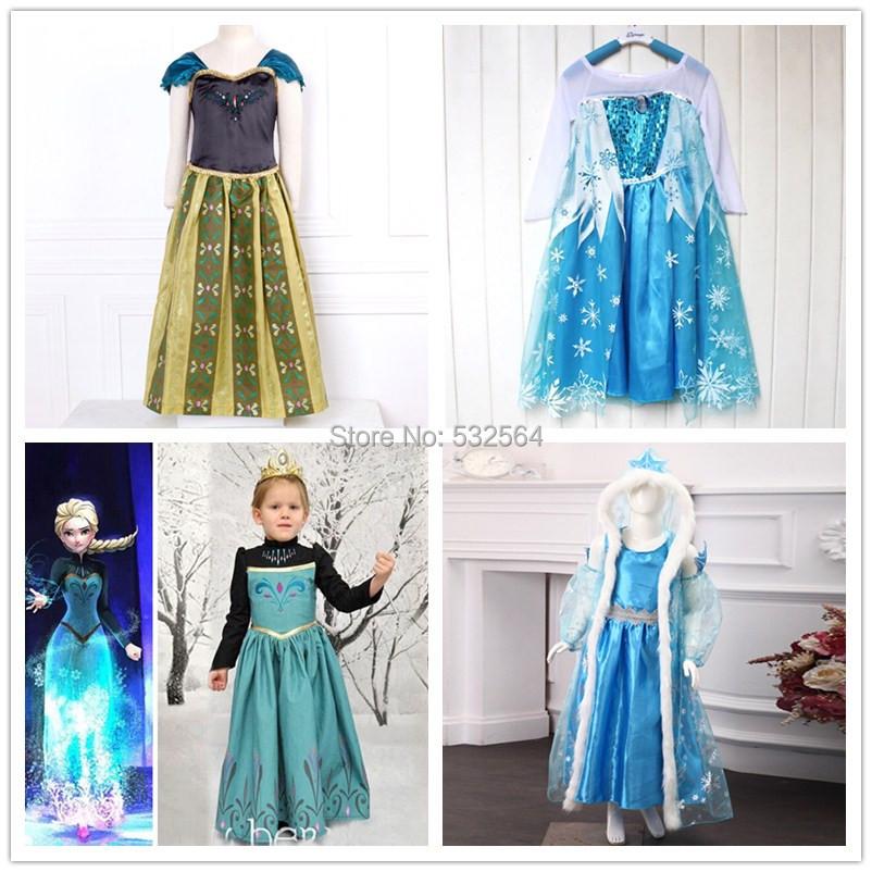 Forzen cosplay girls dress fantasy princess dress children clothing(China (Mainland))