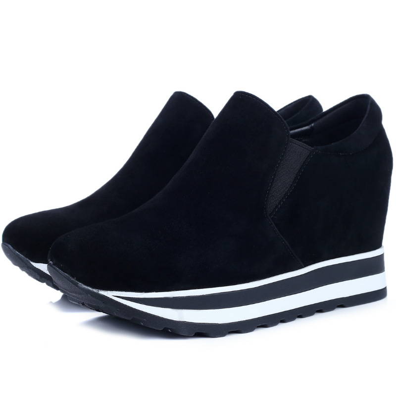 Фотография High quality Genuine sheepskin leather 8cm high heels spring 2016 fashion single shoes women ladies autumn concise casual shoes