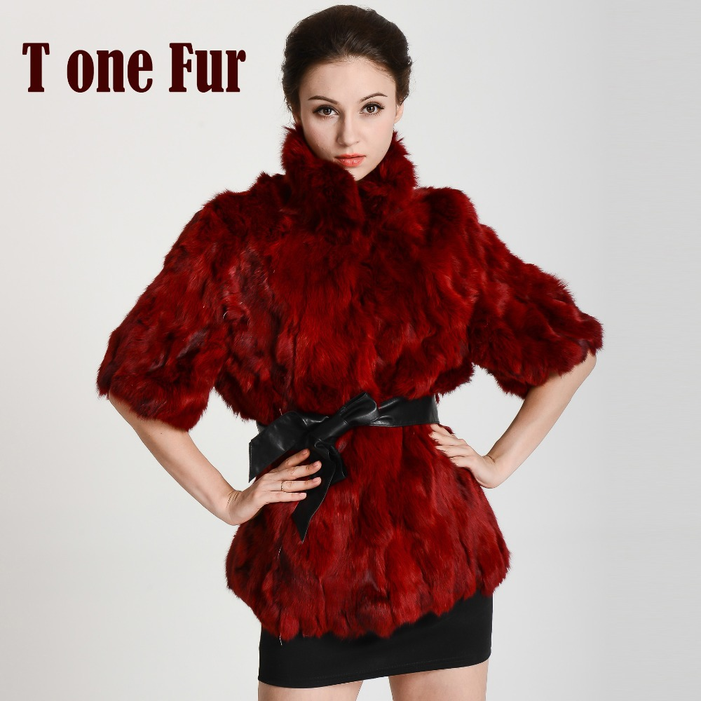 New Arrival Real Rabbit Fur Coat Women Fashion Brand Natural Genuine Fur Jacket with belt free shipping KHP301(China (Mainland))