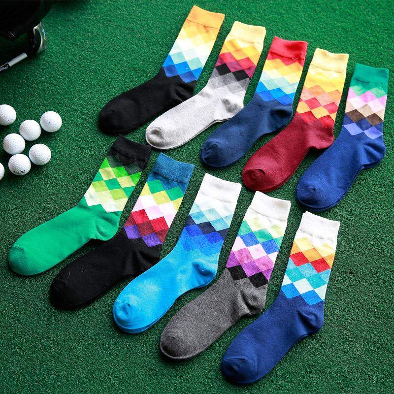 Harajuku Gradient Color Lattice Pure Men Socks Cotton Women Knitted Happy Socks Male High Business Stockings Casual Socks(China (Mainland))