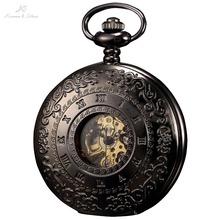 KS Retro Skeleton Alloy Case Copper Key Style Roman Dial Luxury Case Male Clock Mechanical Hand Wind Men Pocket Watch / KSP044